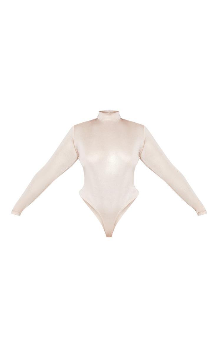 Plus Nude Metallic High Neck Bodysuit 3