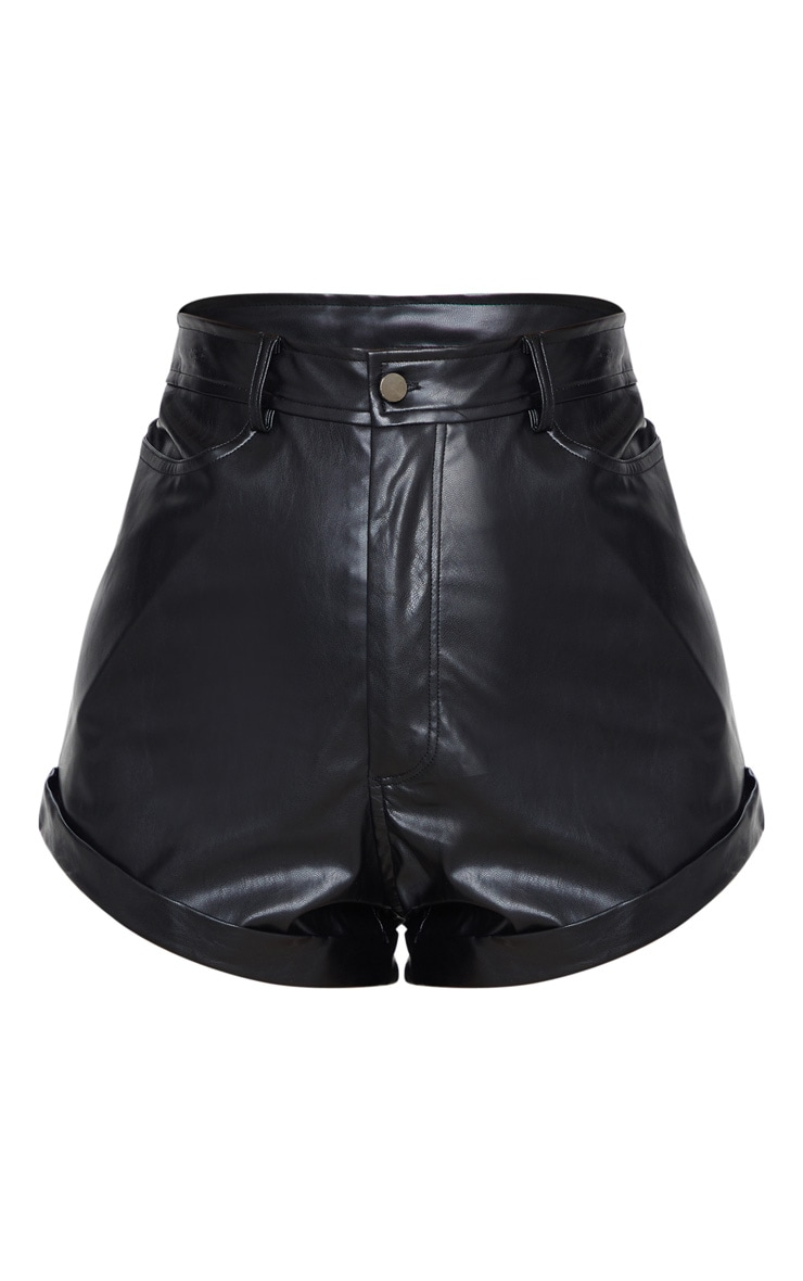 Black Faux Leather Turn Up Hem Shorts 3
