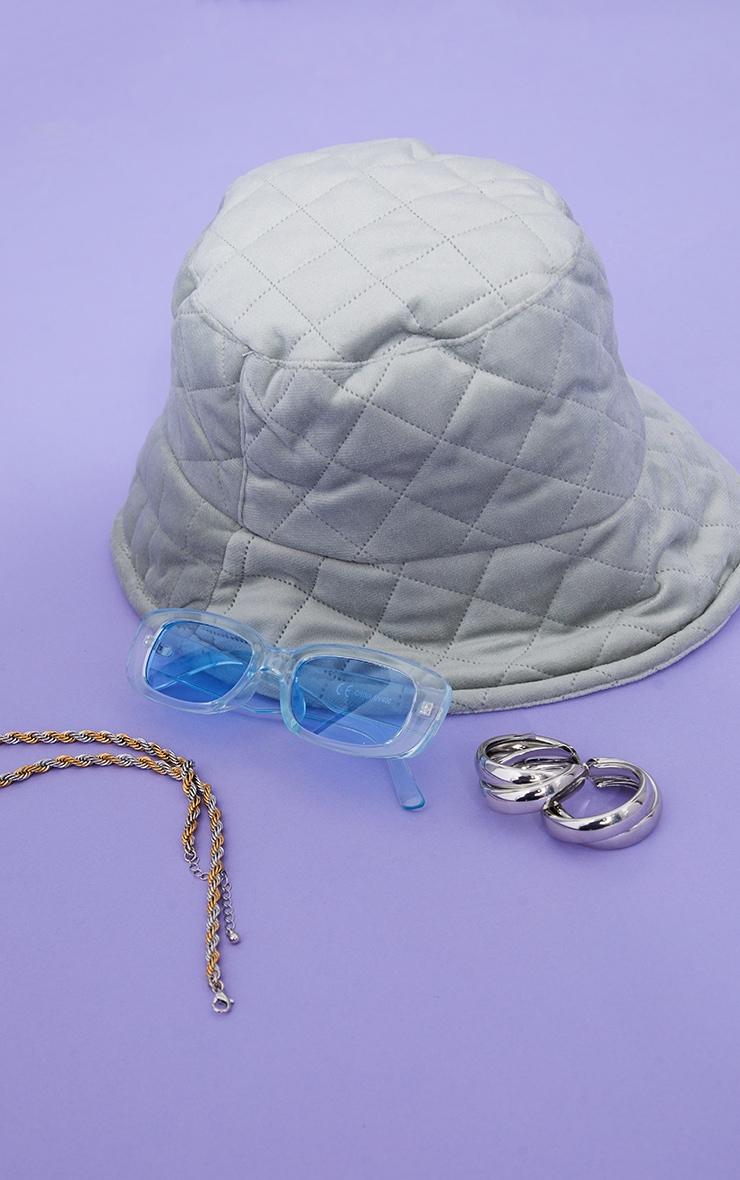 Light Khaki Quilted Velour Bucket Hat 2