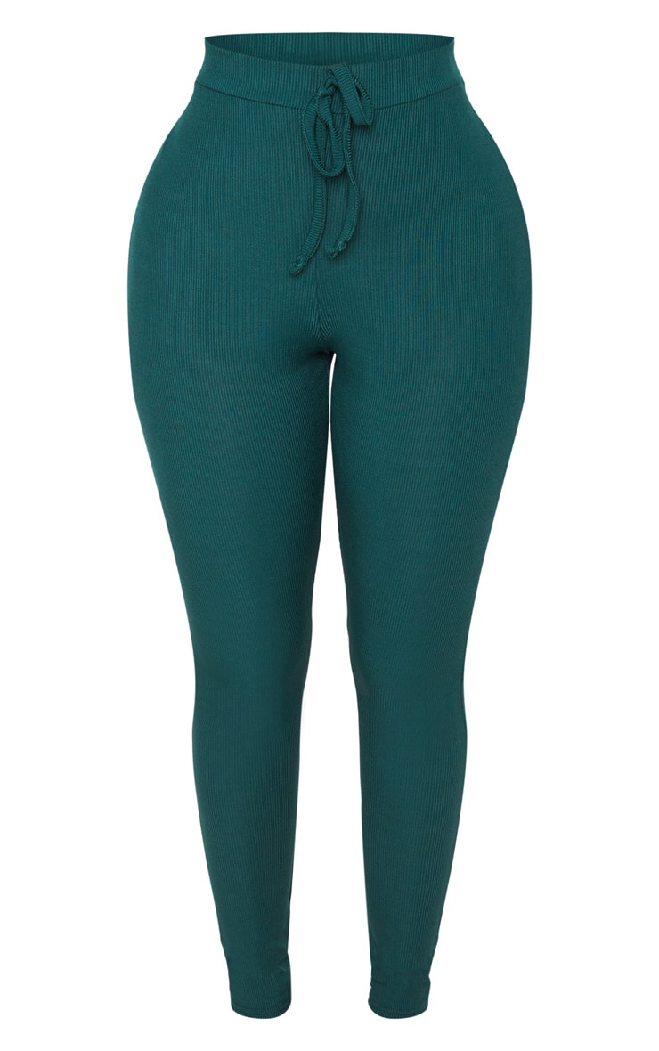 Shape Emerald Green Ribbed High Waist Leggings 3
