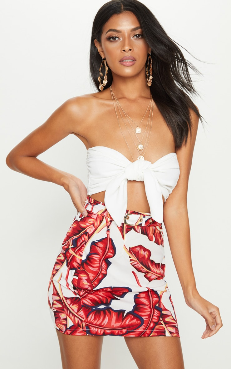 White Leaf Print Belted Waist Print Mini Skirt 1