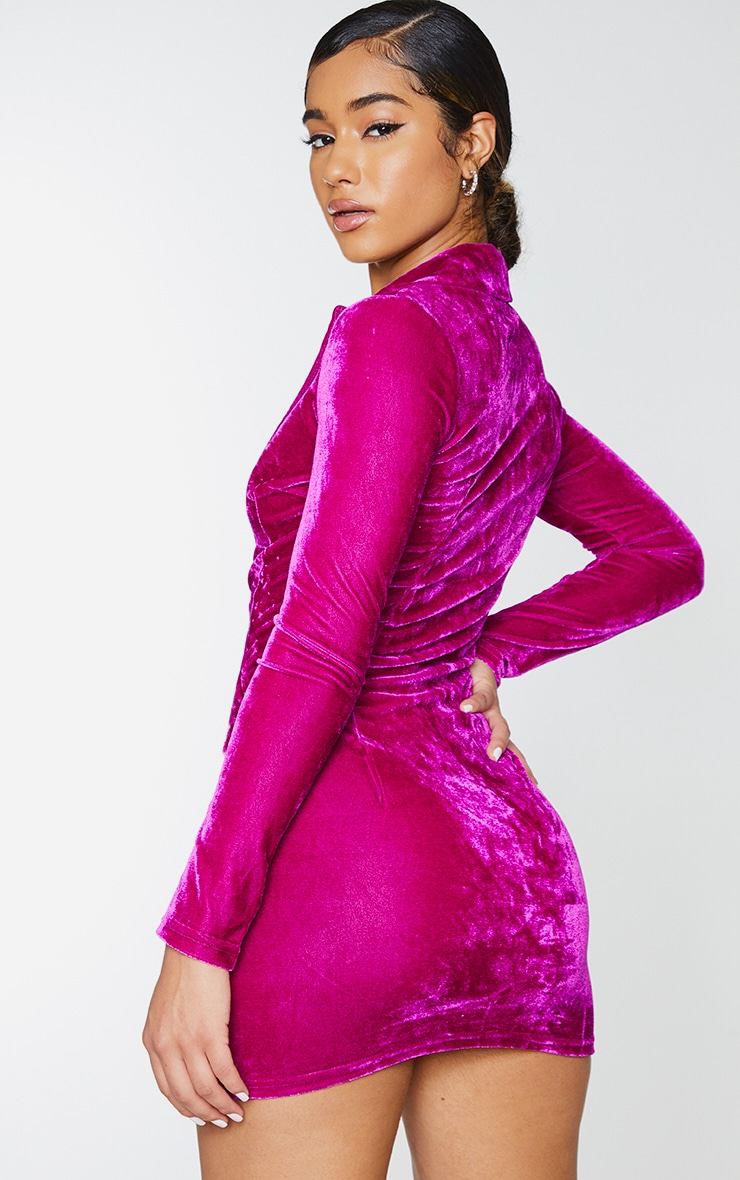 Fuchsia Velvet Long Sleeve Plunge Wrap Bodycon Dress 2