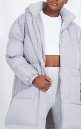 Tall Grey Longline Puffer Coat 4