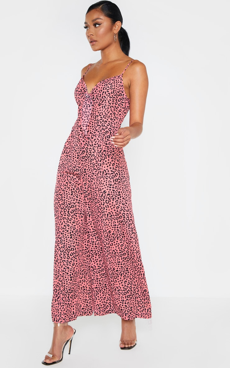 Pink Strappy Animal Print Culotte Jumpsuit 4