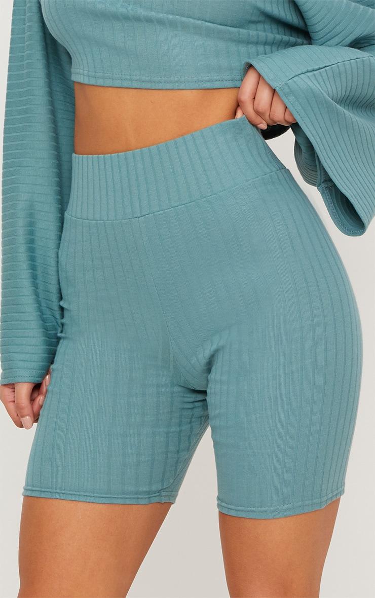 Mineral Blue Rib High Waisted Cycle Shorts 6