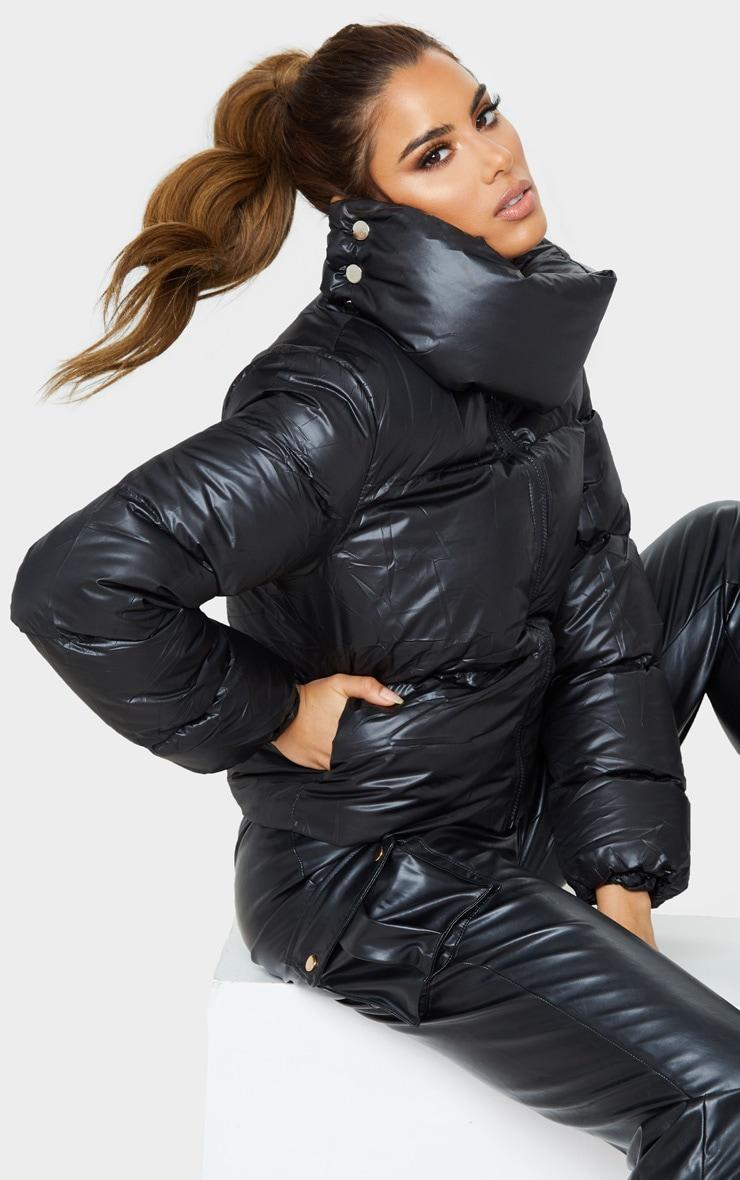 Tall Black Oversized Collar Puffer Coat  1