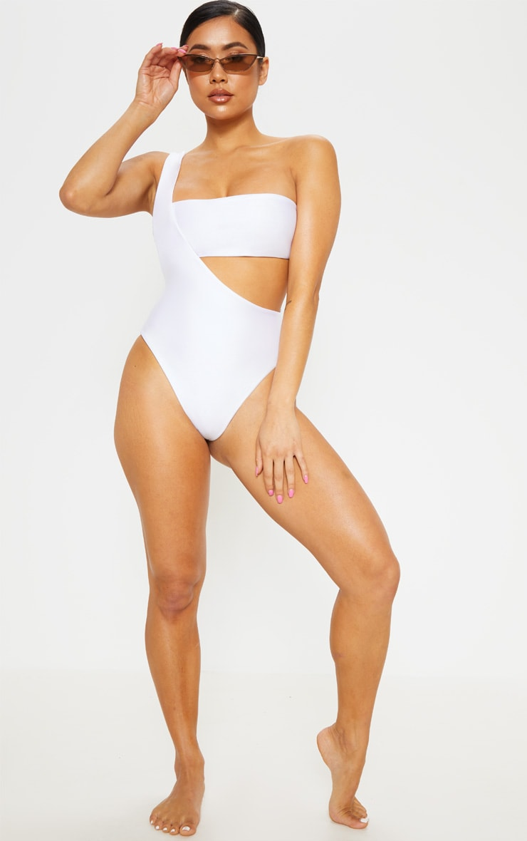 Petite White Asymmetric Swimsuit 5