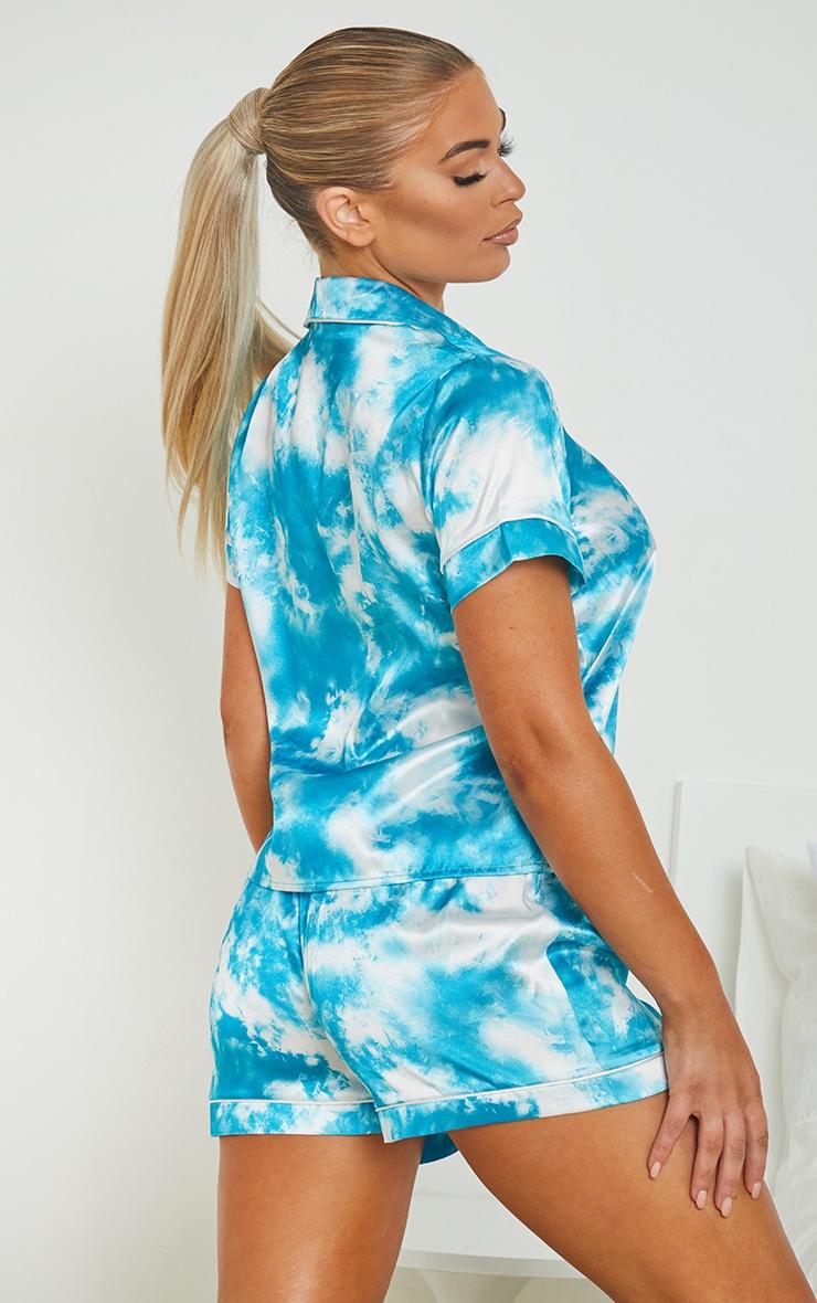 Blue Tie Dye Satin Short PJ Set 2