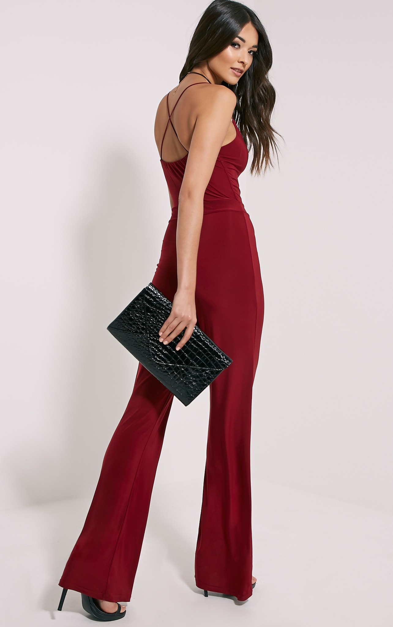 Lex Oxblood Cross Back Slinky Jumpsuit 1