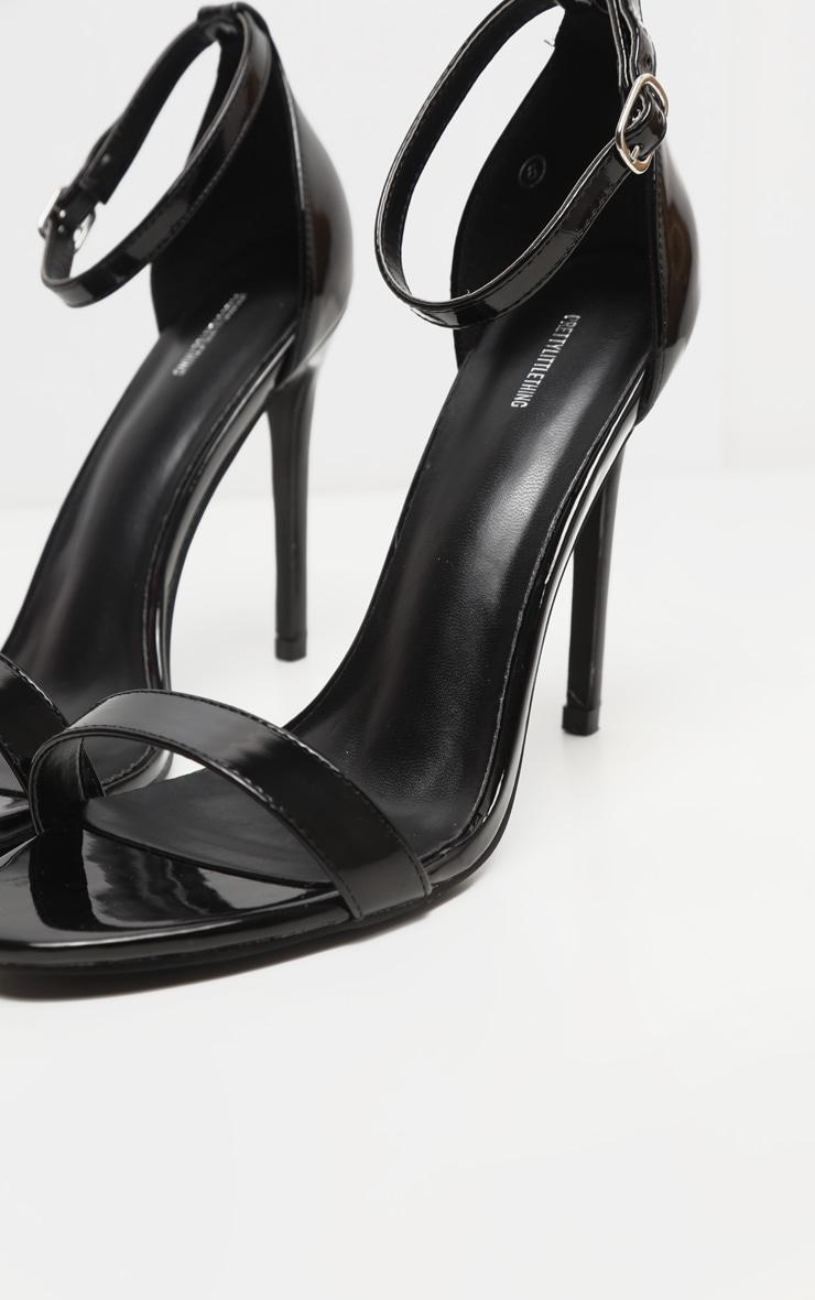 Black Metallic Clover Heeled Sandals 4