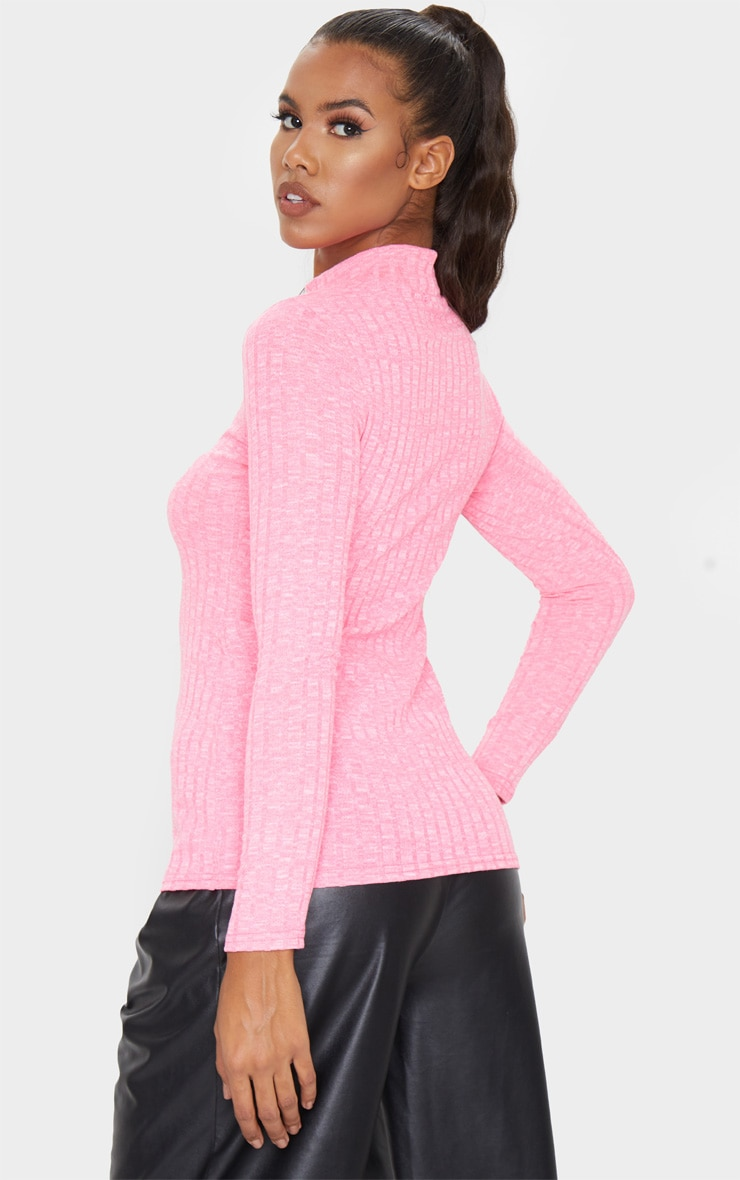 Hot Pink High Neck Long Sleeve Top 3
