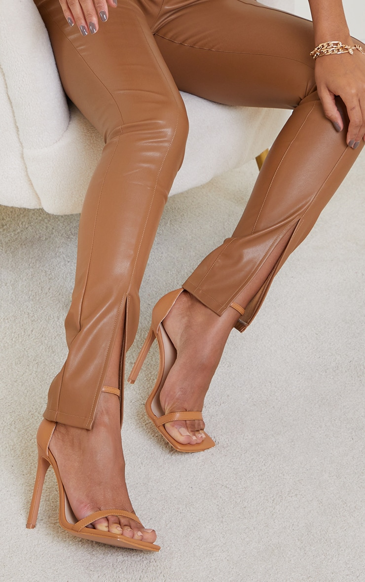 Tan Clover Barely There Strappy Squared Toe Heeled Sandals 1