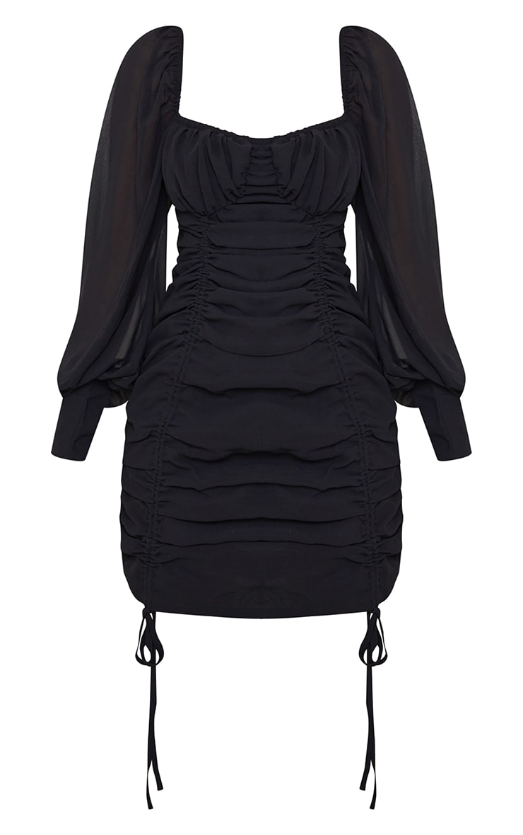 Black Chiffon Long Sleeve Ruched Skirt Bodycon Dress 5