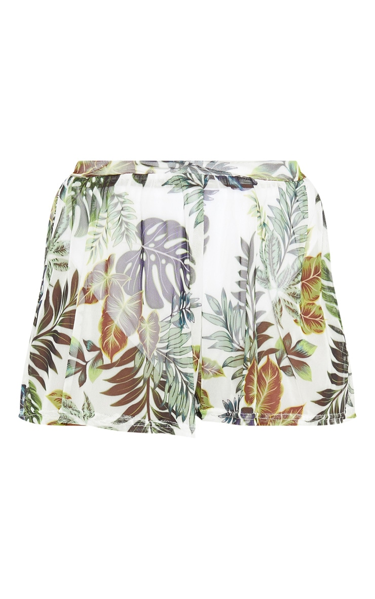 White Palm Print Mesh Shorts 3