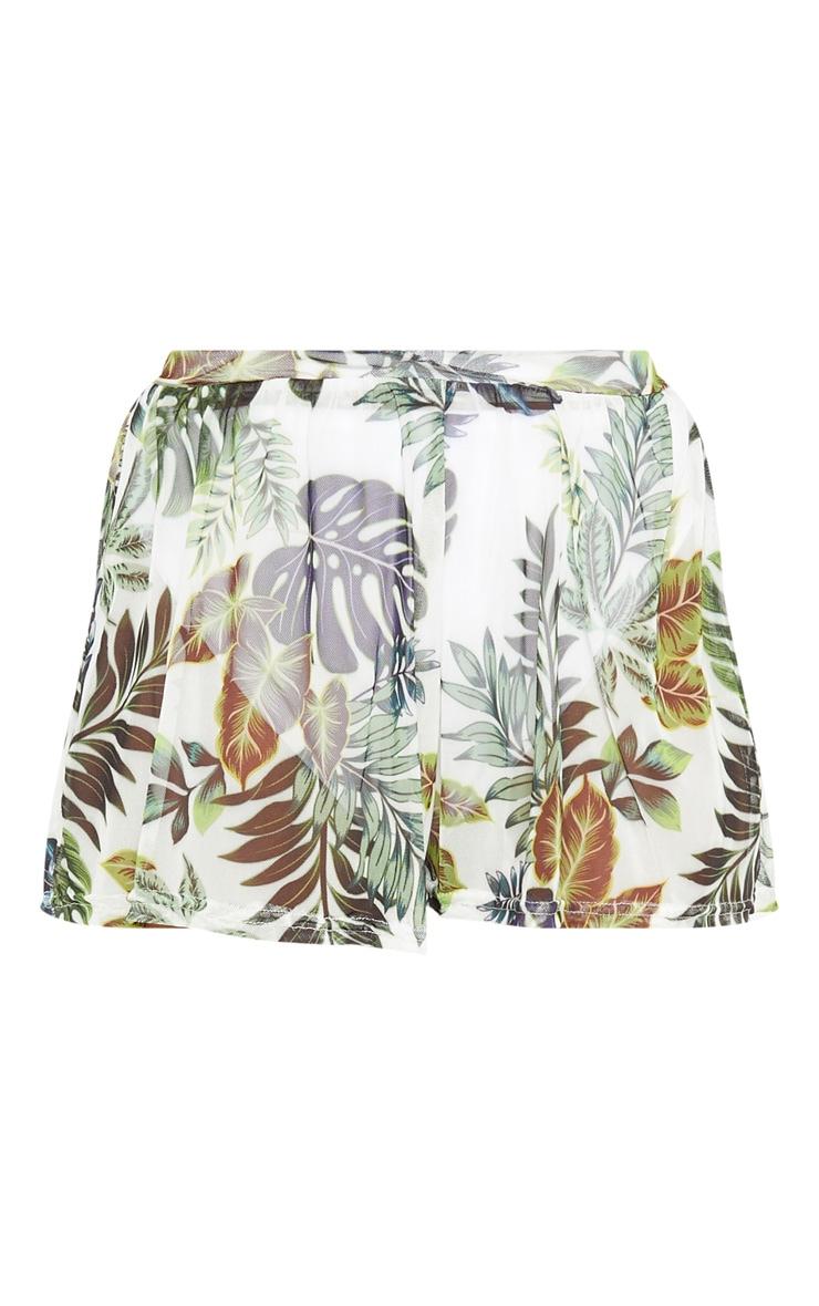 Short en tulle imprimé palmiers blanc 3