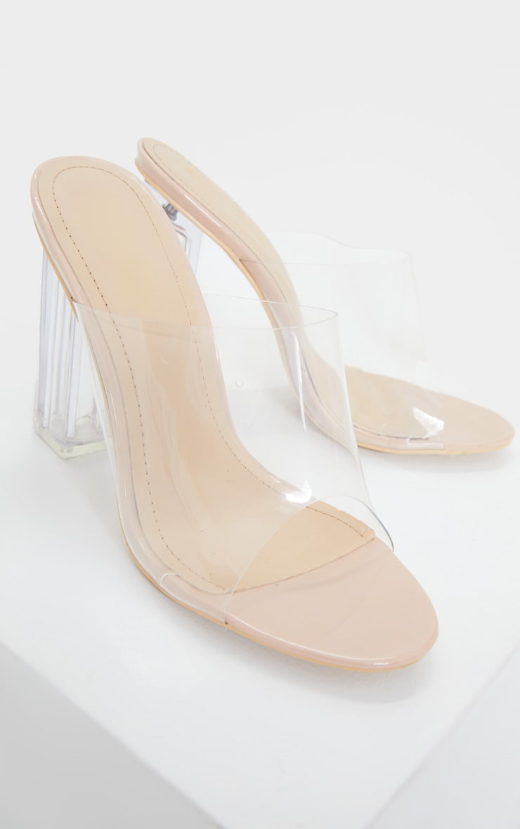 Nude Clear High Block Mule Heel 3