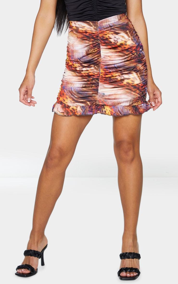 Multi Abstract Print Slinky Ruched Frill Hem Mini Skirt 2