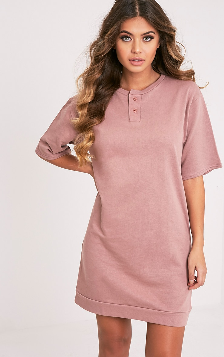 Anabelle Dark Mauve Button Up Sweater Dress 1