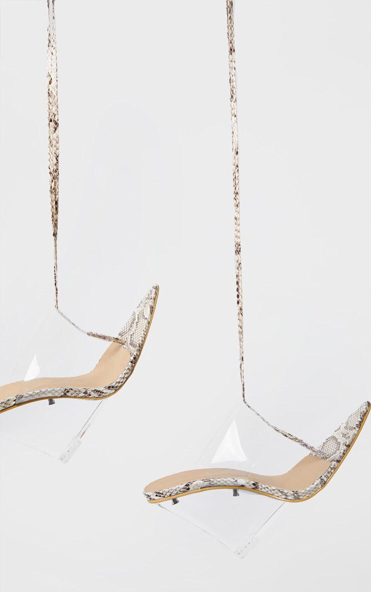 Snake Print Clear Wedge Point Toe Thong Sandals 4