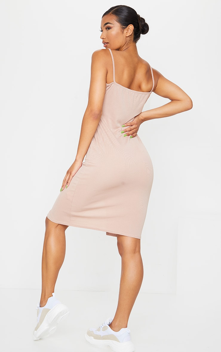 Camel Strappy Popper Split Detail Midi Dress 2