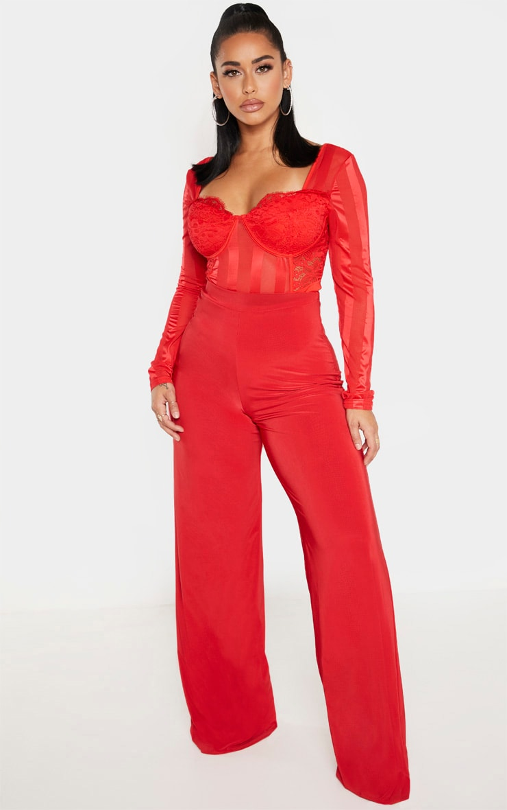 Shape Red Lace Mesh Long Sleeve Stripe Bodysuit 4