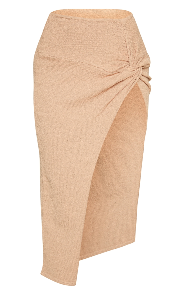Stone Ruched Waist Side Split Towelling Knit Skirt 5