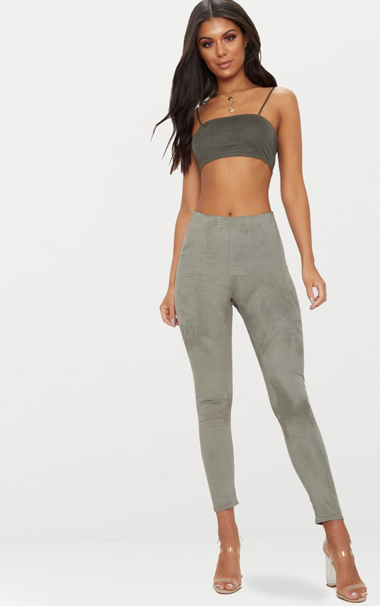 Khaki Faux Suede Skinny Trousers 1