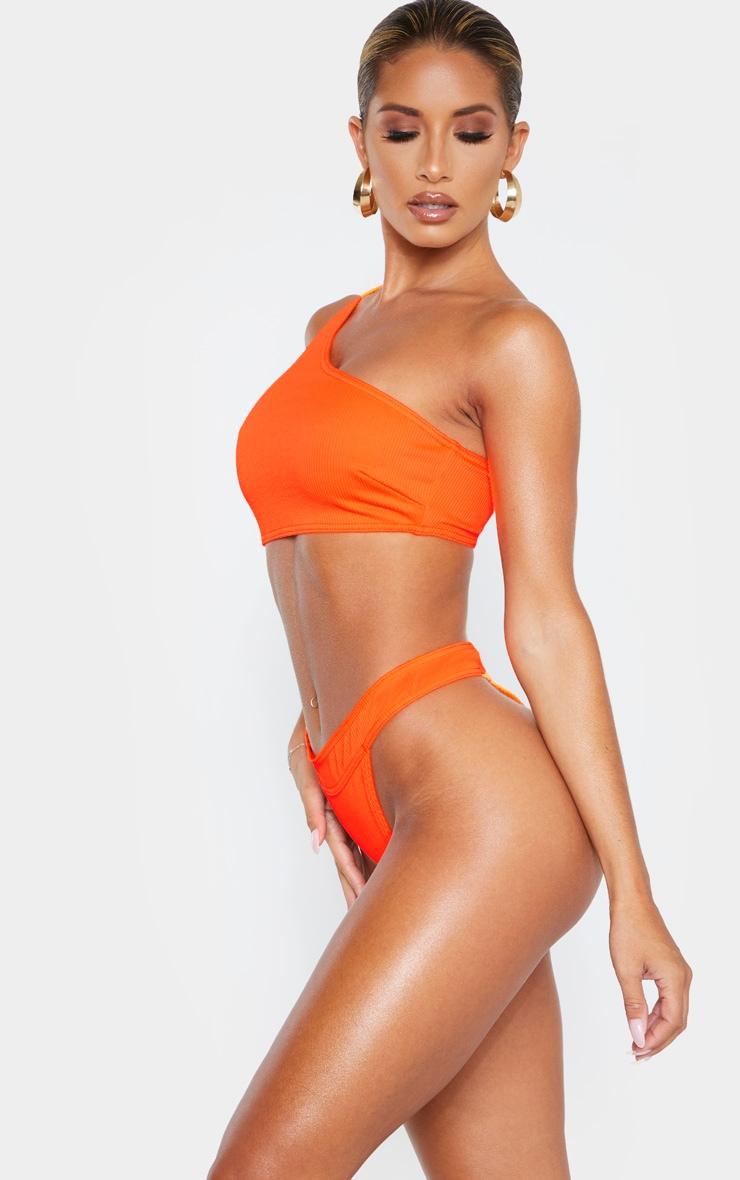 Orange Ribbed Thong Bikini Bottom 2