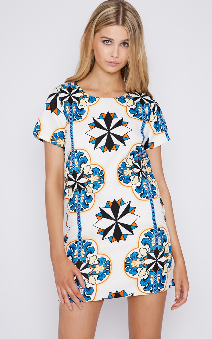 Bailey Abstract Print Quilted Shift Dress 1