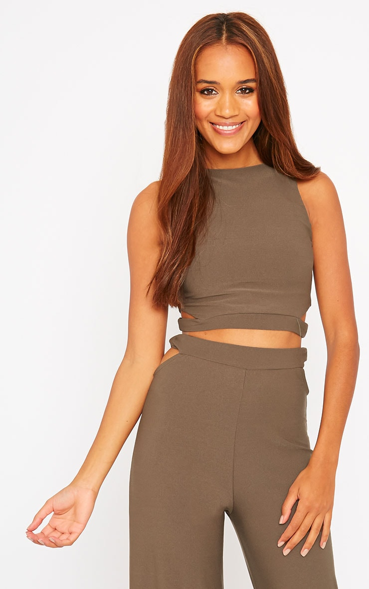 Elphina Khaki Crepe Cut Out Crop Top 1