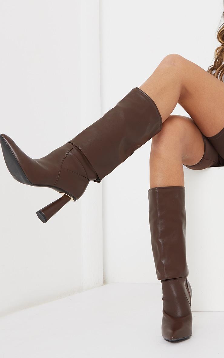 Chocolate PU Point Toe Fold Down Circle High Heeled Boots 1