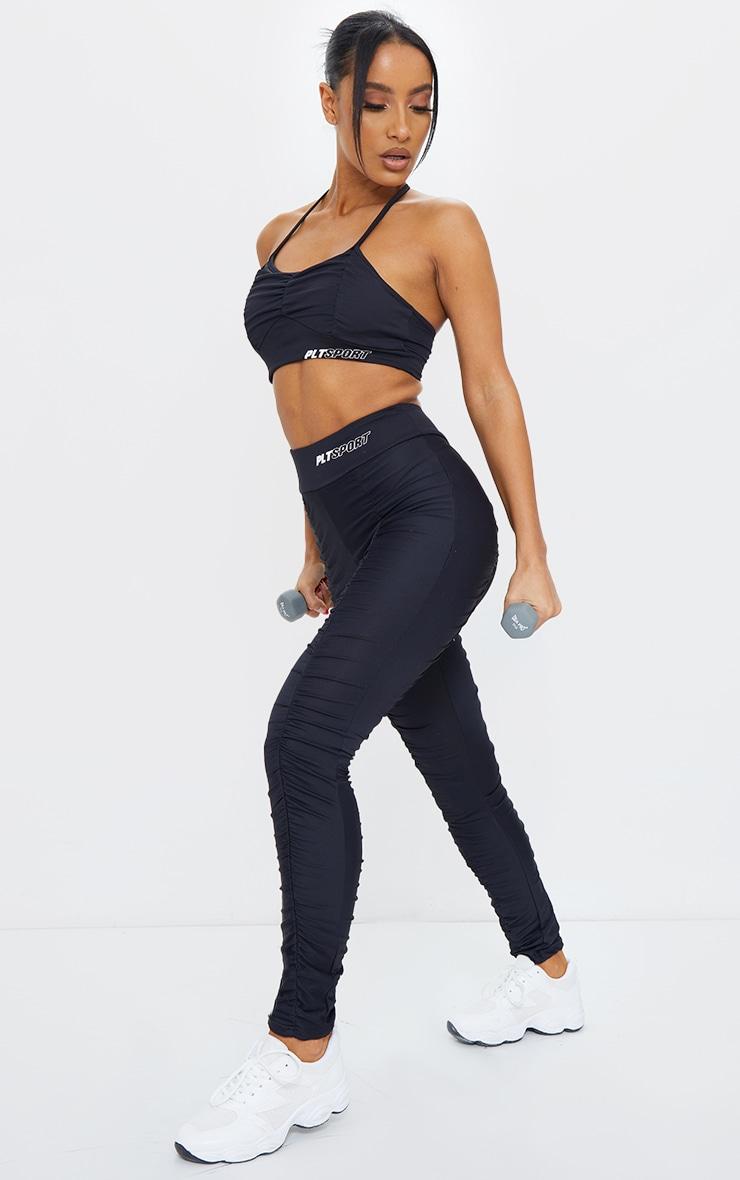 Black Ruched High Waist Gym Leggings 1
