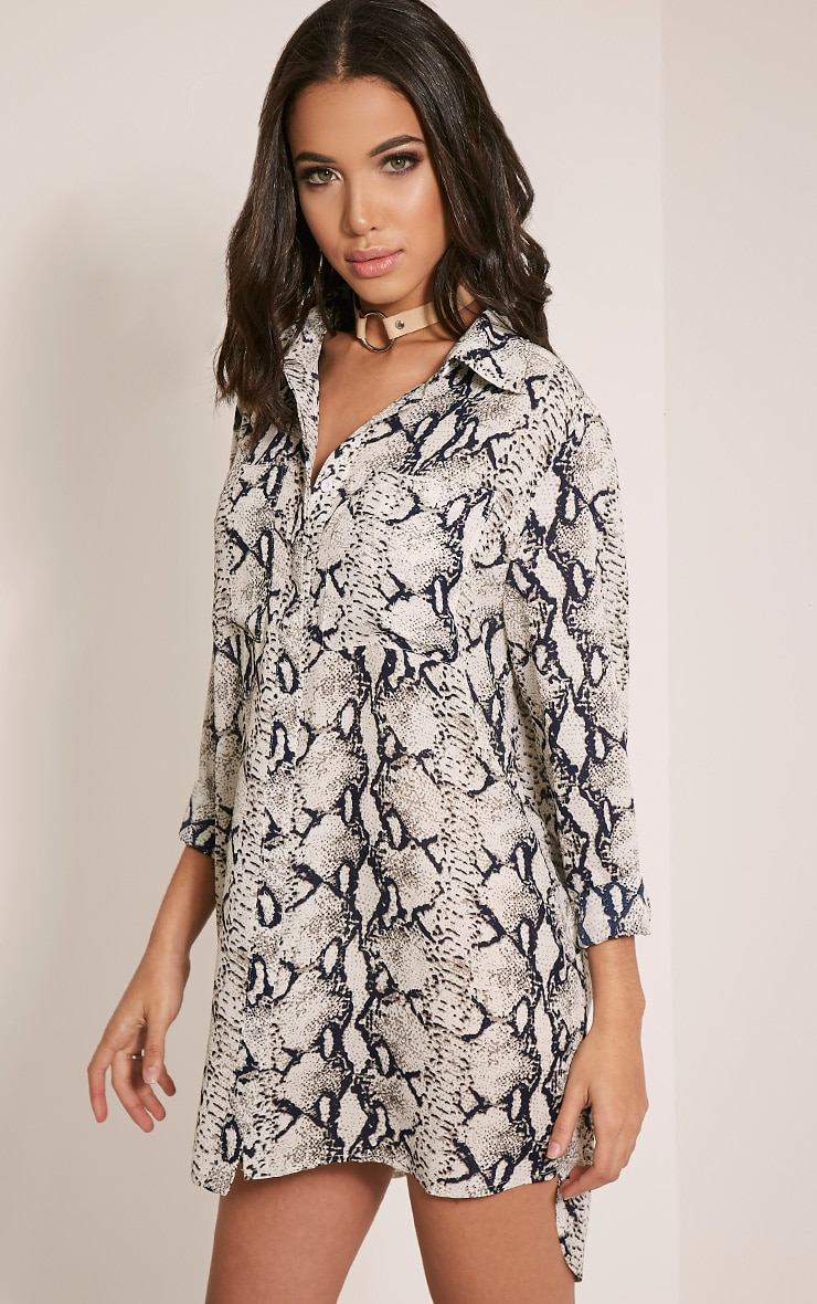 Tricia Grey Snake Print Shirt Dress Prettylittlething