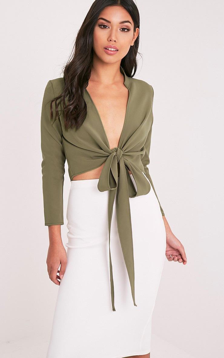 Blanche Khaki Tie Front Long Sleeve Crop Blouse 1