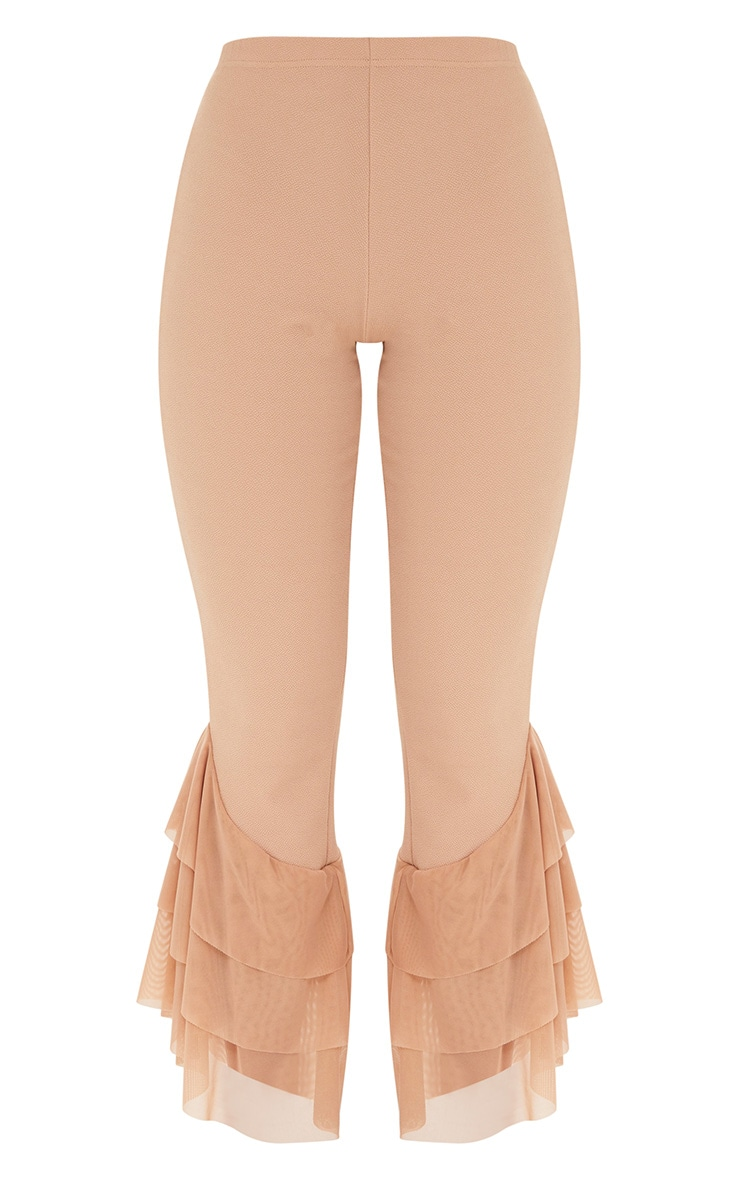 Sand Tulle Frill Flared Trousers 3