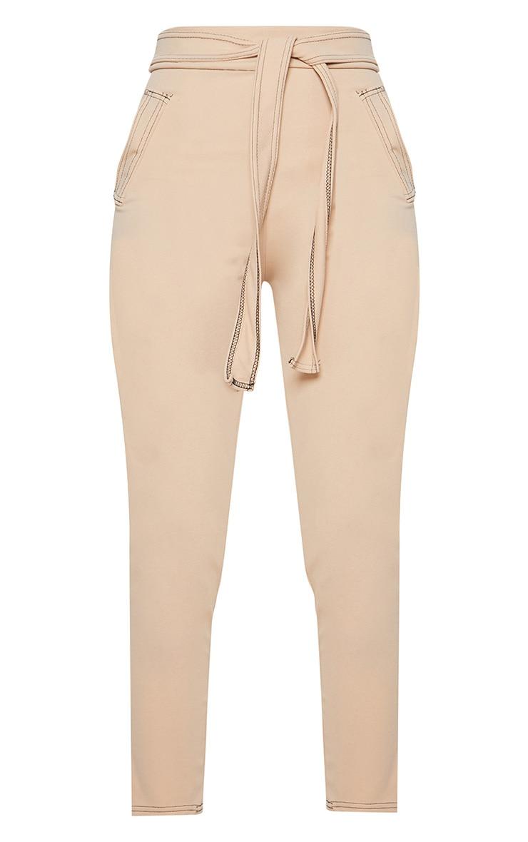 Stone Contrast Stitch Tie Waist Skinny Pants 3