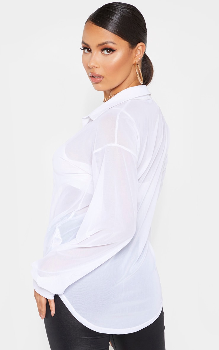 Petite White Mesh Oversized Shirt 2