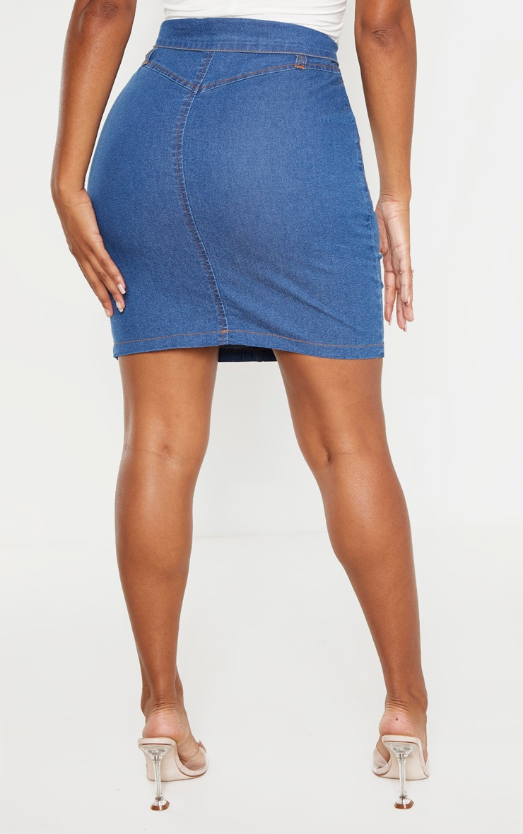 Shape Mid Wash Button Up Denim Skirt 5