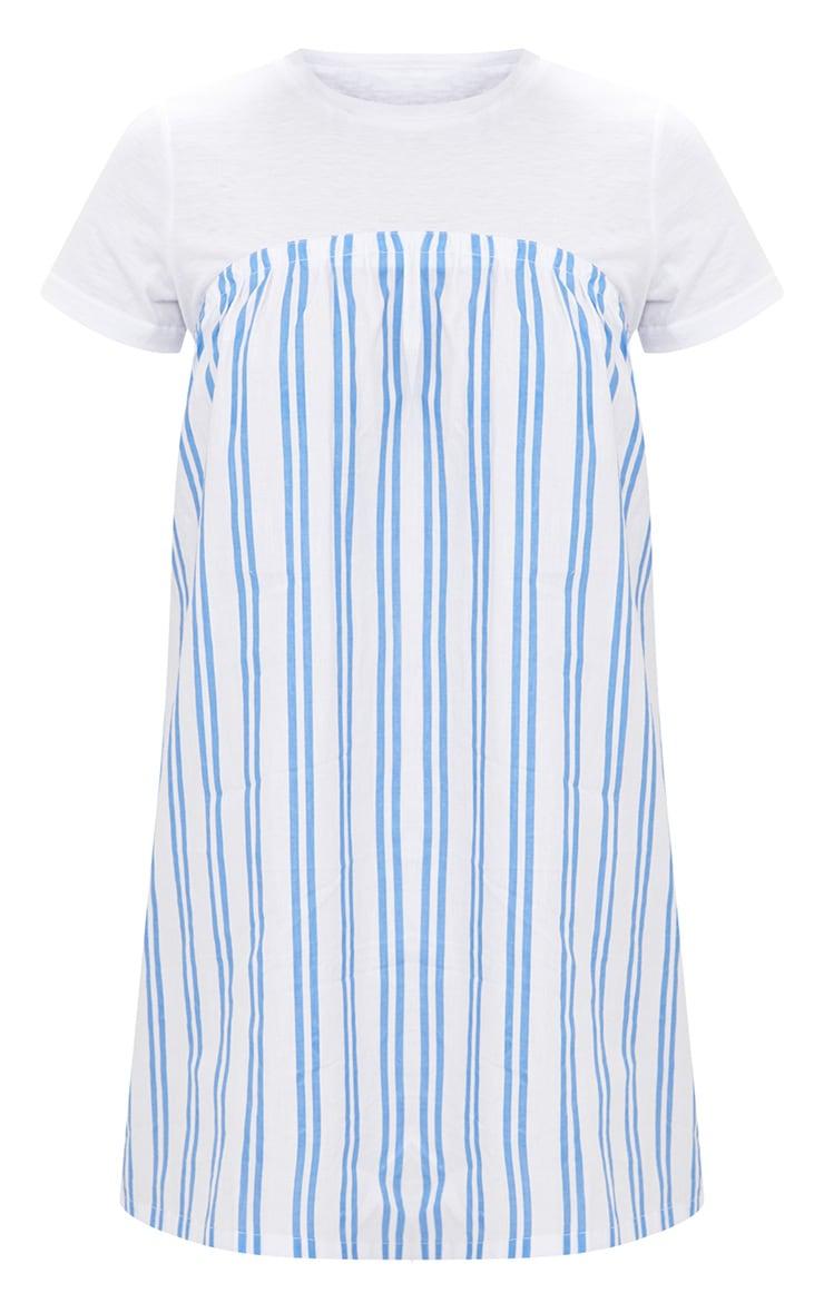 White Striped T Shirt Dress 3