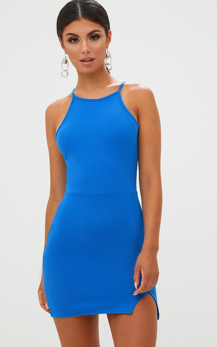 Cobalt High Neck Split Detail Bodycon Dress 1