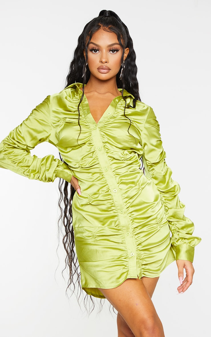 Chartreuse Satin Ruched Long Sleeve Shirt Dress 3