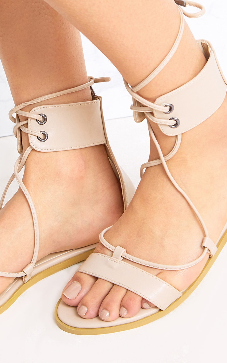 Kassia Nude Lace Up Sandals 5