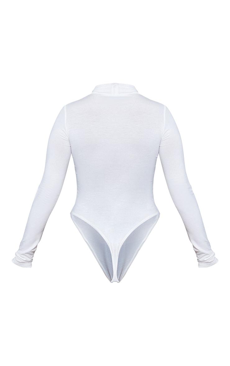 Petite White Basic High Neck long Sleeved Bodysuit 6