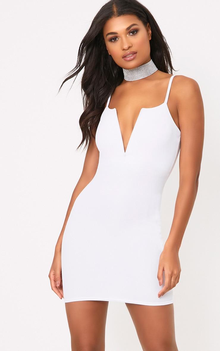 White Strappy Plunge Bodycon Dress 1