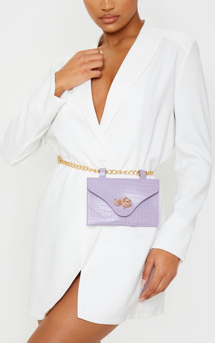 Dusty Lilac Dragon Chain Belted Bum Bag 1
