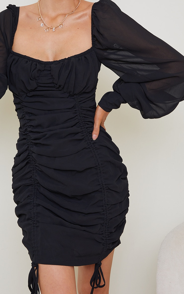 Black Chiffon Long Sleeve Ruched Skirt Bodycon Dress 4