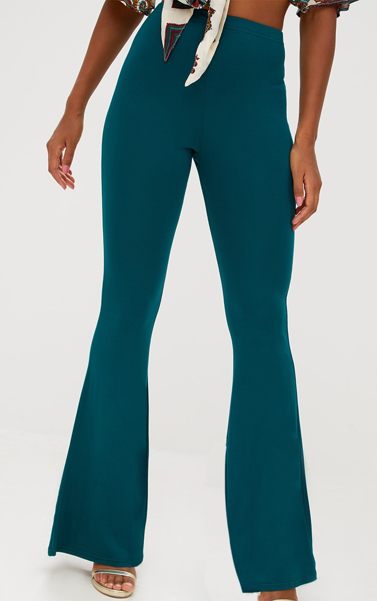 Emerald Green Basic Jersey Flared Trousers 5