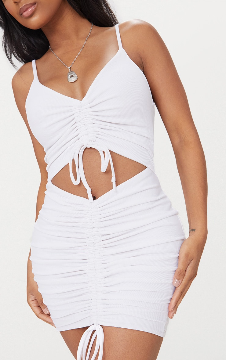Shape White Ribbed Ruched Cut Out Midi Dress 5