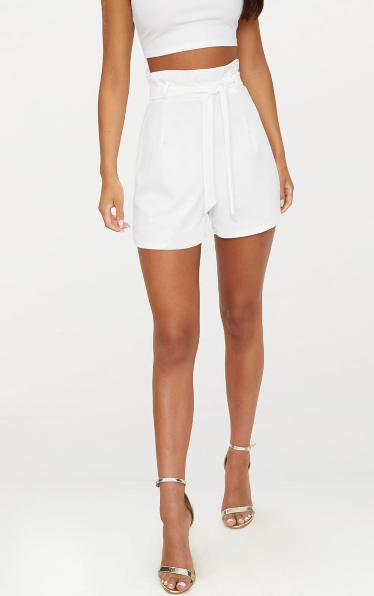 White High Waisted Tie Front Short  2