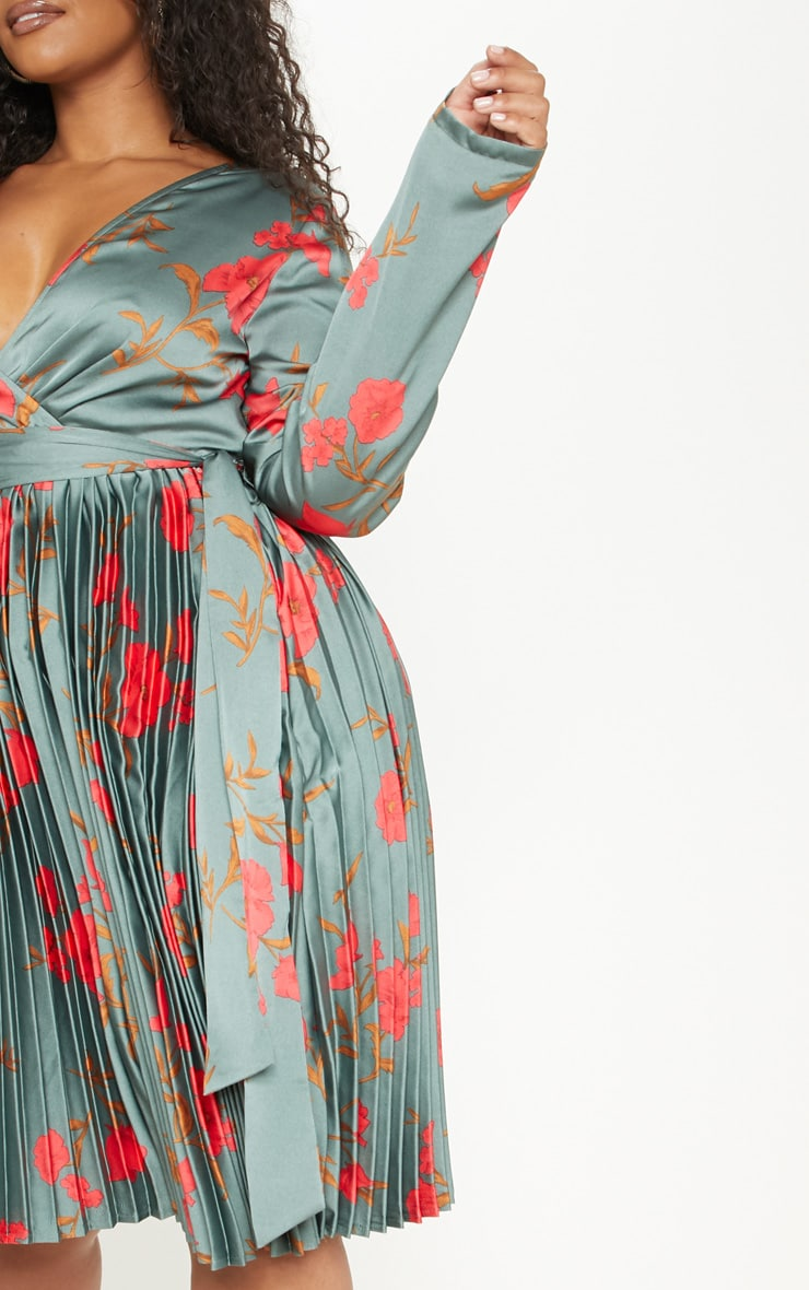 Plus Emerald Green Floral Print Long Sleeve Pleated Midi Dress 5